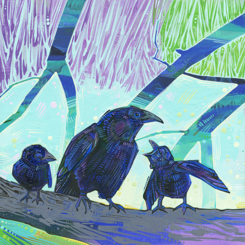 painting of a teenage crow with two babies