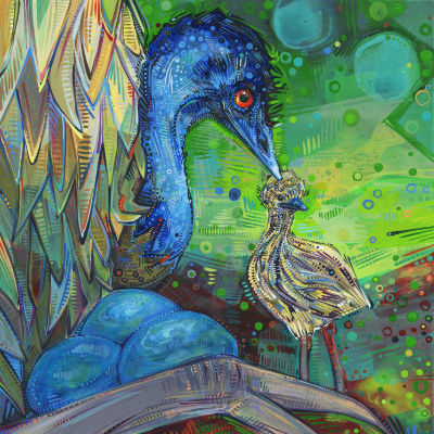 buy contemporary art, emu dad with a chick and some eggs, painted by American artist Gwenn Seemel