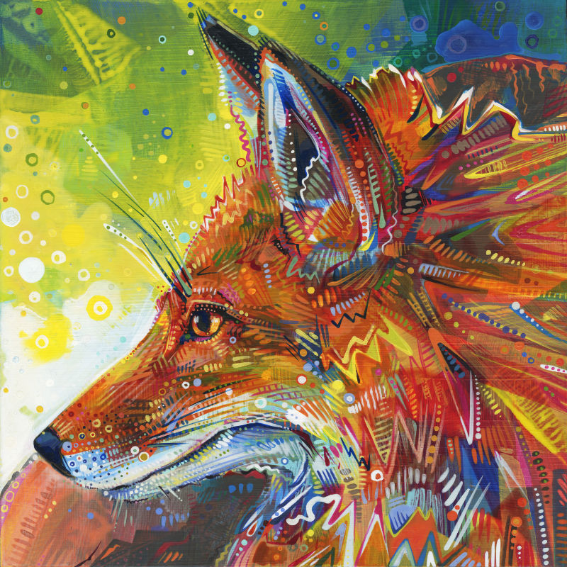 painting of a red fox, close up with dynamic brushstrokes