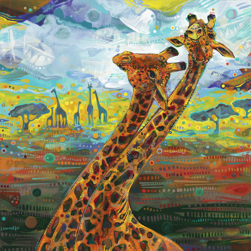 painting of two male giraffes