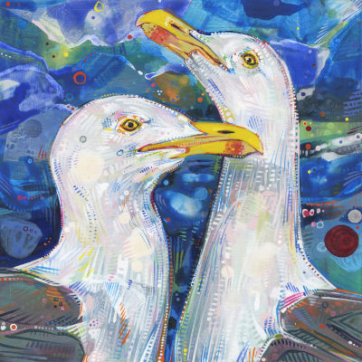 two gulls painted in acrylic, buy art by independent artists