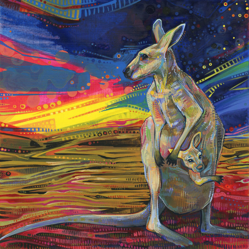 painting of a red kangaroo with a joey