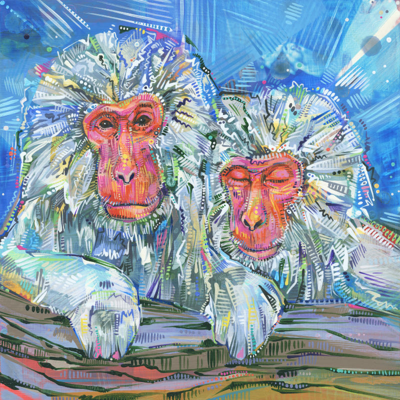 painting of a pair of Japanese macaque