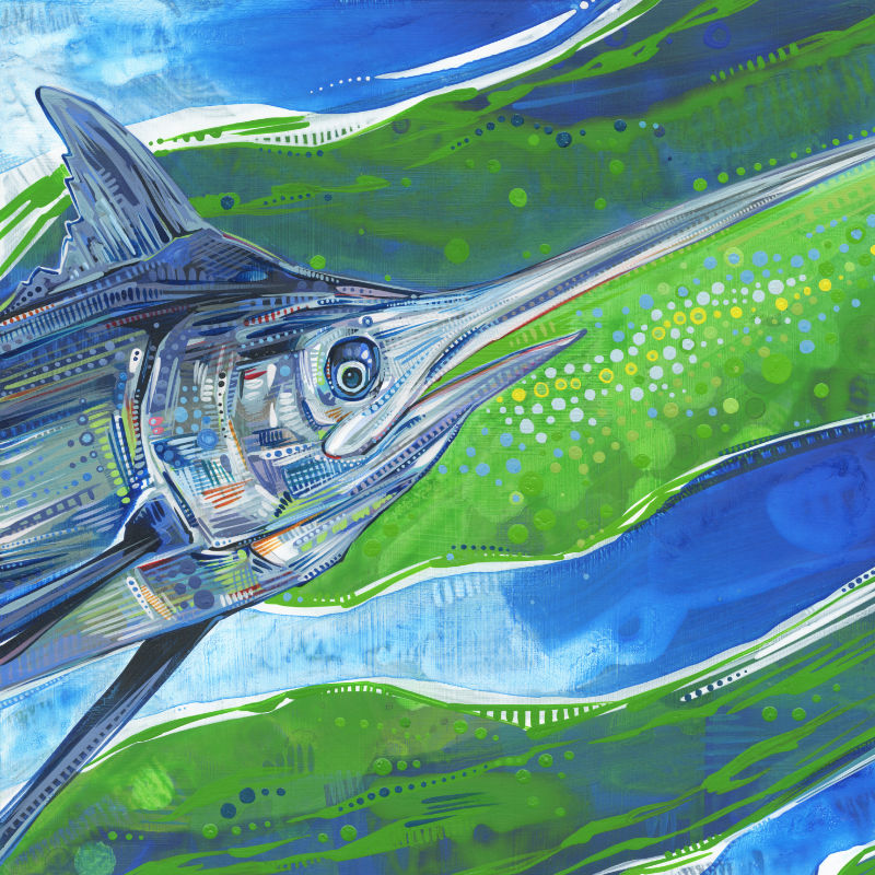 painting of a blue marlin fish