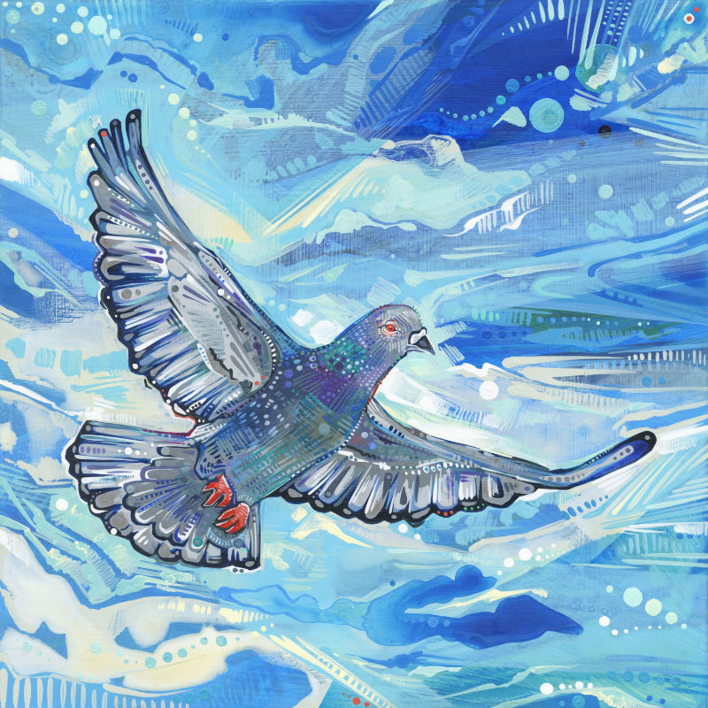 painting of a pigeon flying