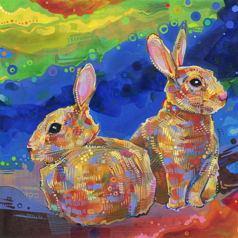 painting of two rabbits