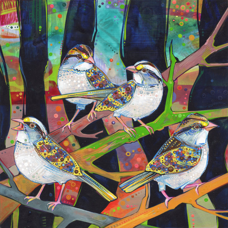 painting of four sparrows