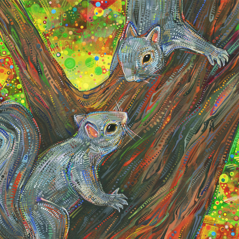 painting of two grey squirrels