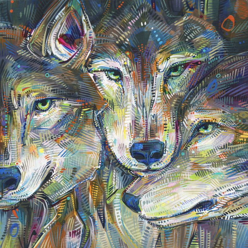 painting of grey wolves