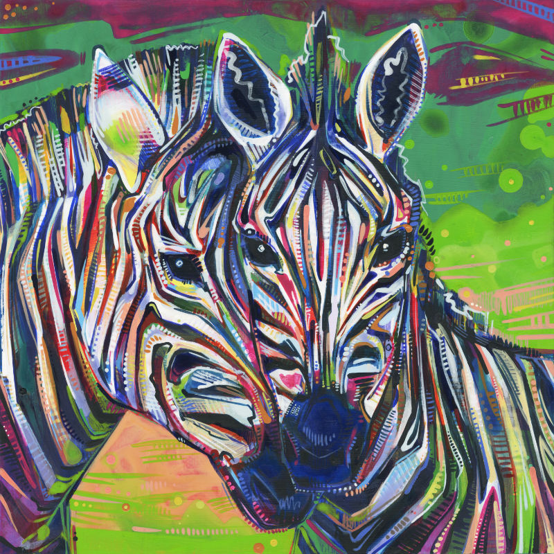 painting of two zebras