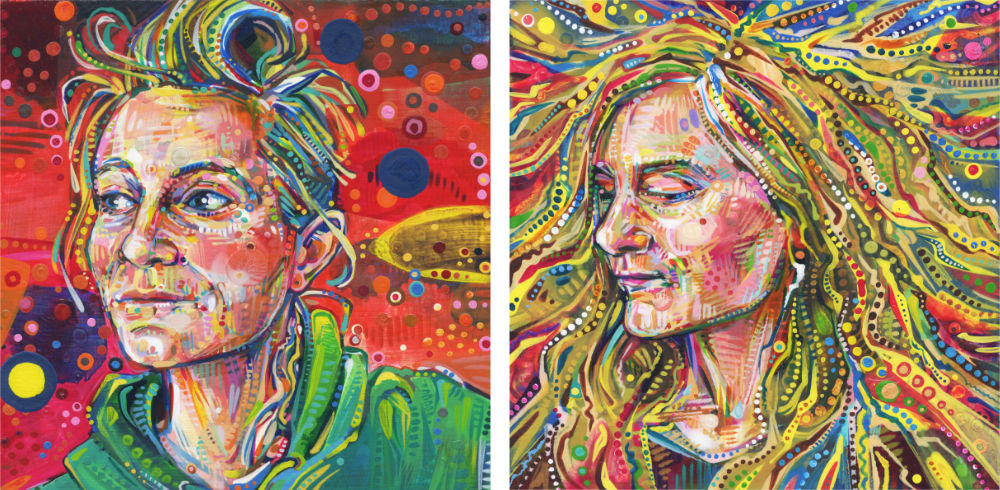two painted portraits of the same woman