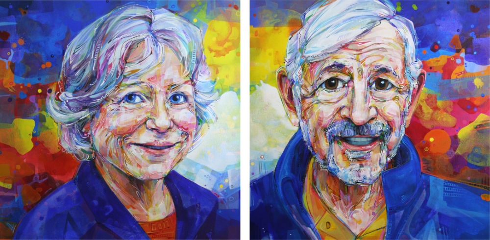 acrylic painted portraits of a couple