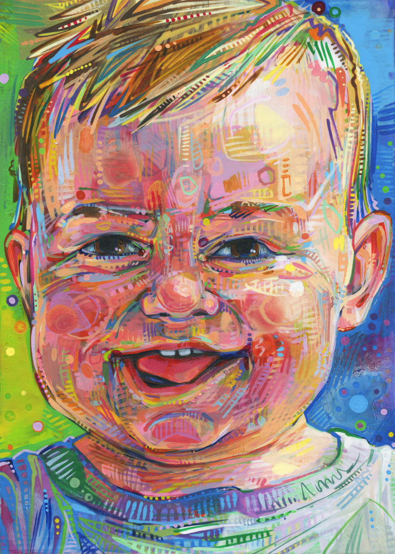 painted portrait of a baby boy