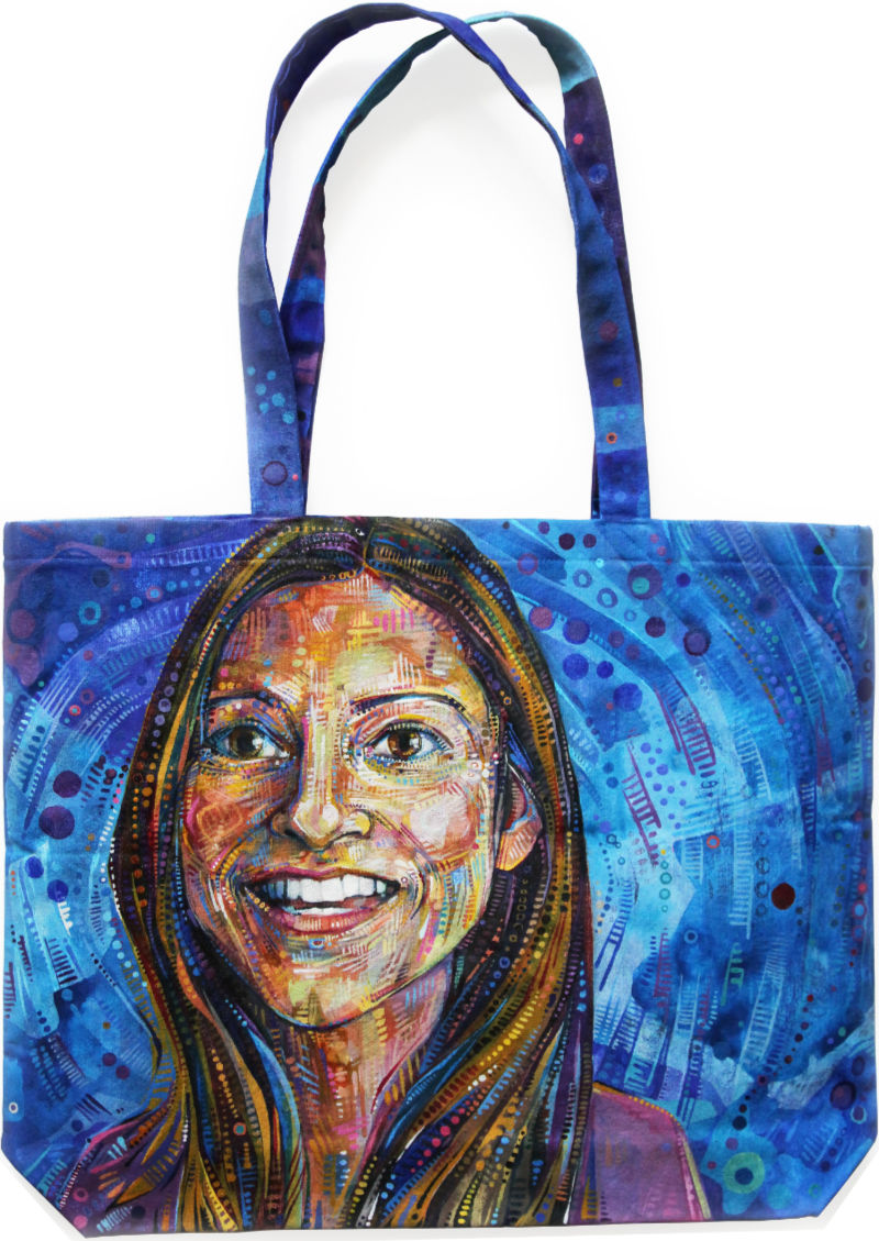 painted portrait bag with an Indian-American woman