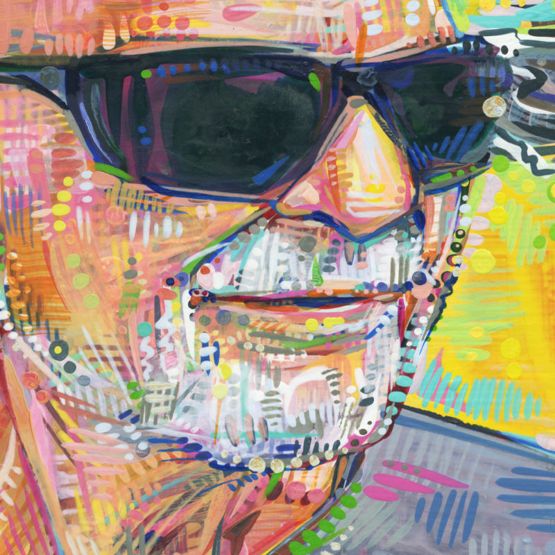 painted portrait of an old man in sunglasses