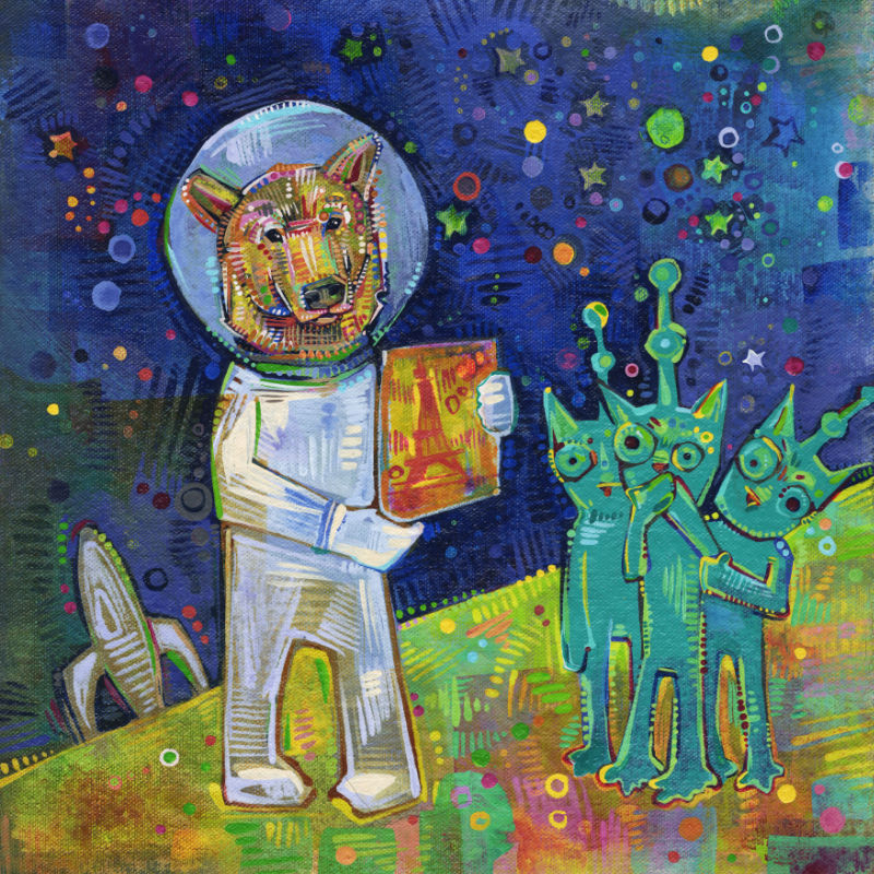 a bear astronaut with cat aliens