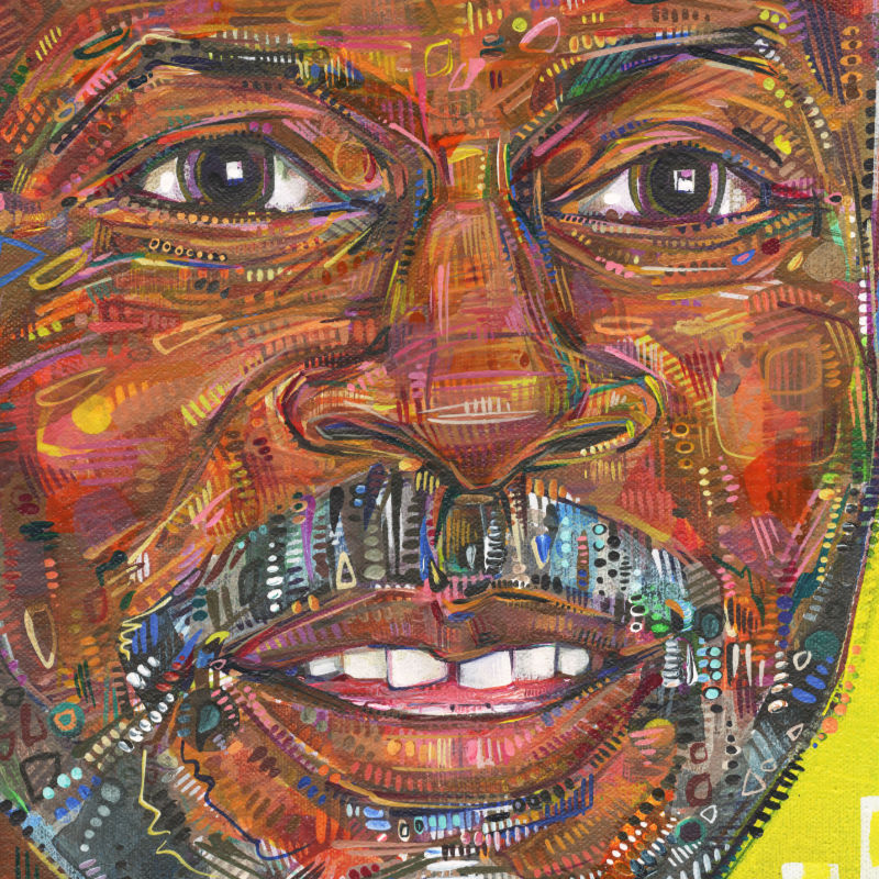 colorful painted portrait of a black man