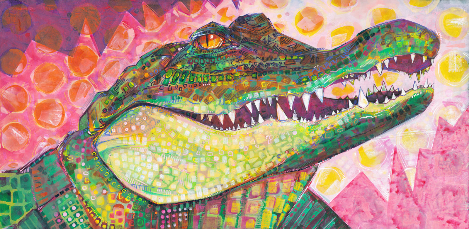 beautiful painting of a crocodile in greens and pinks