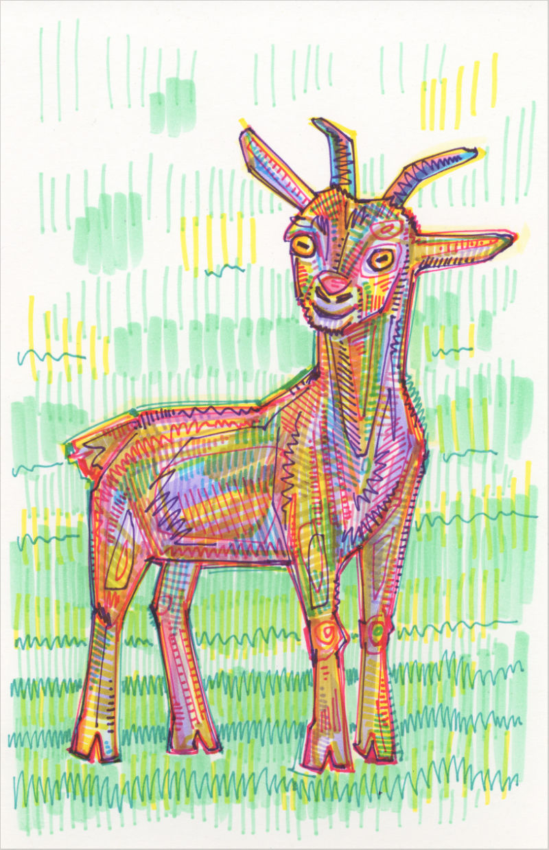 drawing of a rainbow goat