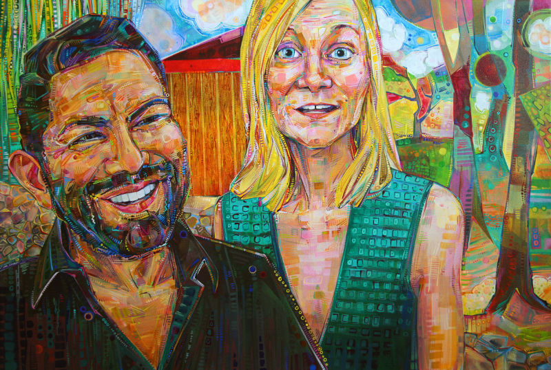 painted portrait of good friends with a garden in the background