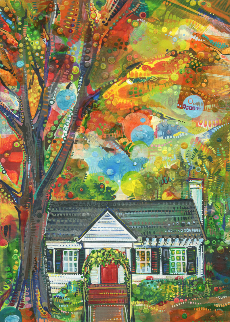 colorful commissioned portrait of a home