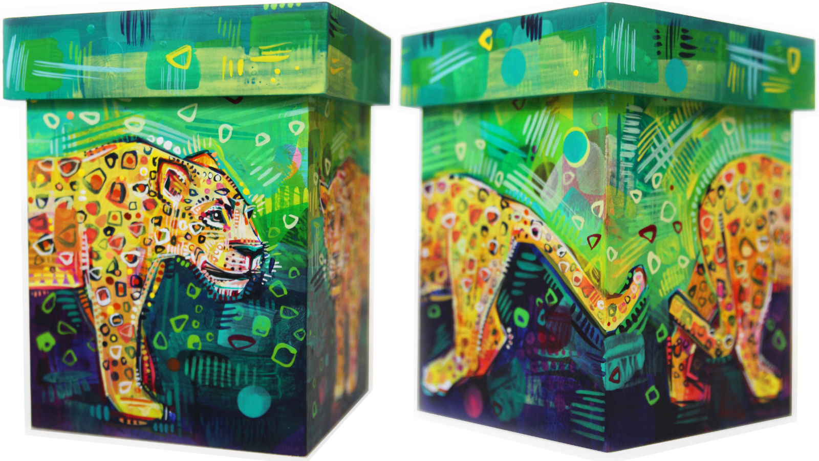 two jaguars painted on a box