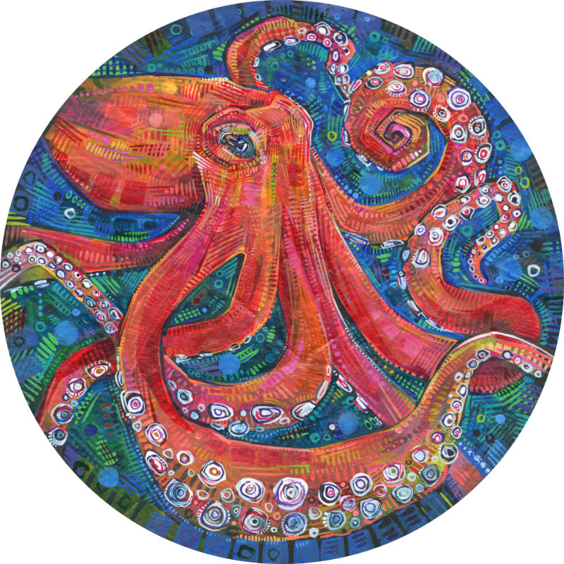 round painting of an octopus