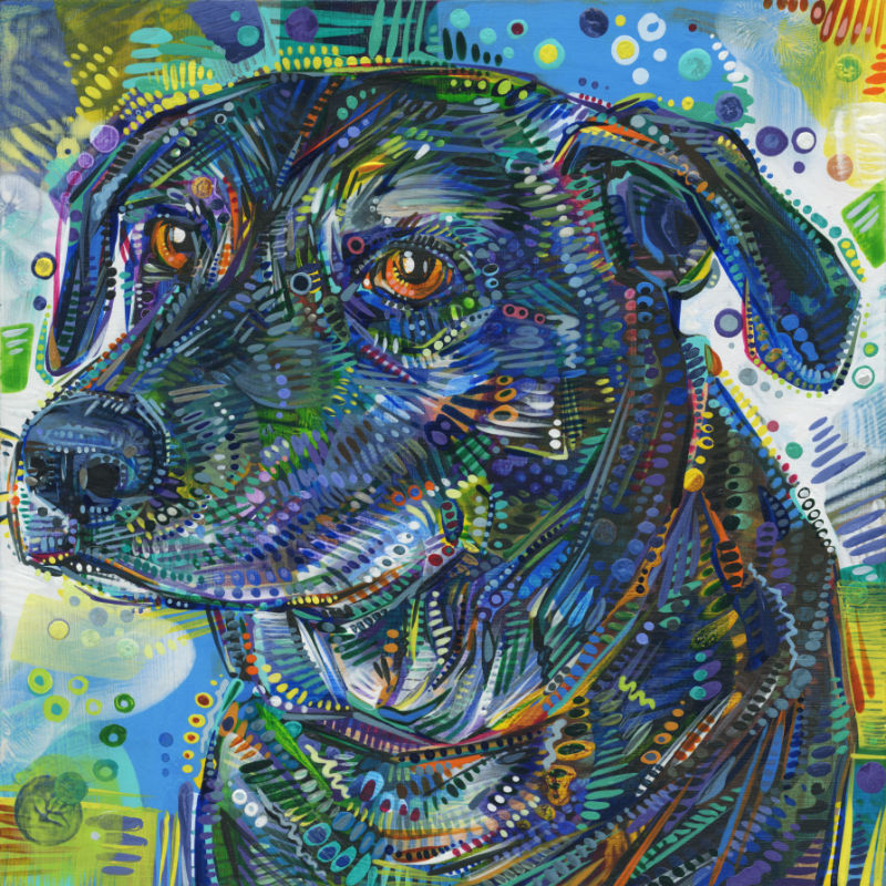 painted pet portrait, black mutt