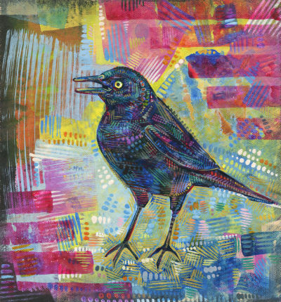 rusty blackbird painting by bird artist Gwenn Seemel