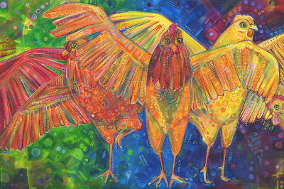 dancing rainbow chickens painted by Gwenn Seemel, artwork for sale