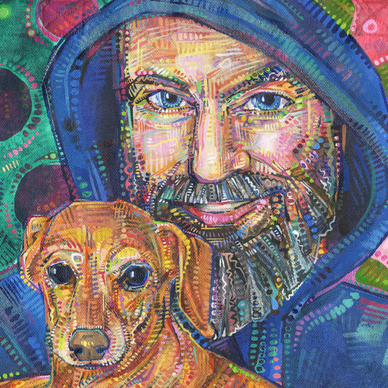 painted portrait of a man and a little dog