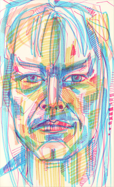 David Bowie from Labyrinth drawing in marker on paper
