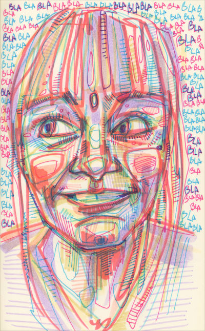 Gwenn Seemel self-portrati drawing in marker on paper