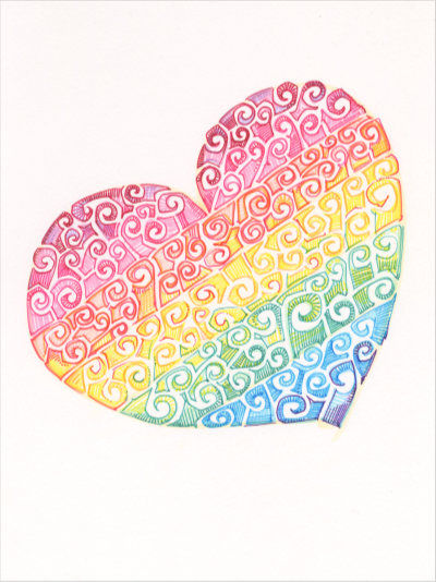 swirl design rainbow heart, buy art from independent artists
