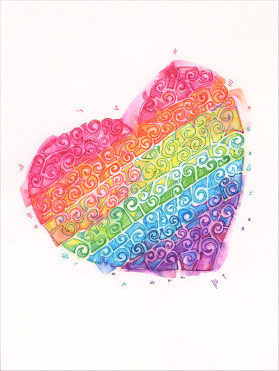 beautiful rainbow heart design by Gwenn Seemel