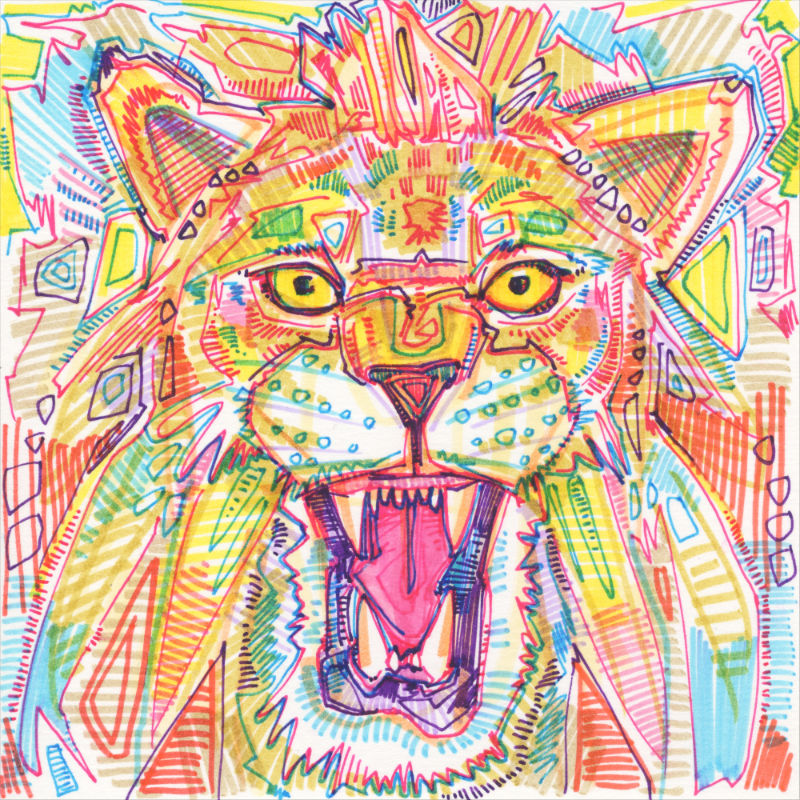 drawing of a lion roaring