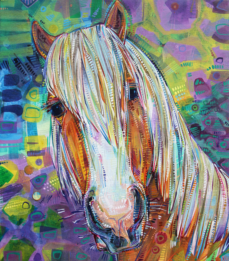 painted portrait of a horse