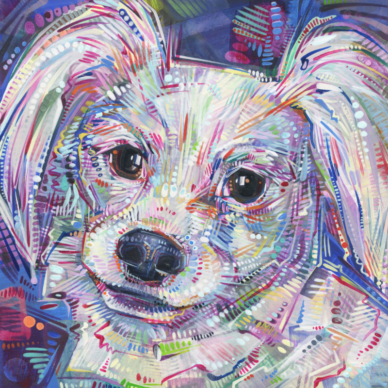 painted portrait of a white Papillon dog