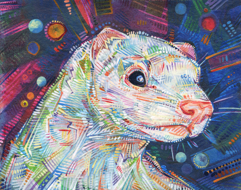 painted portrait of a white ferret