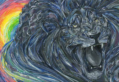 painting of a storm as a terrifying wild cat