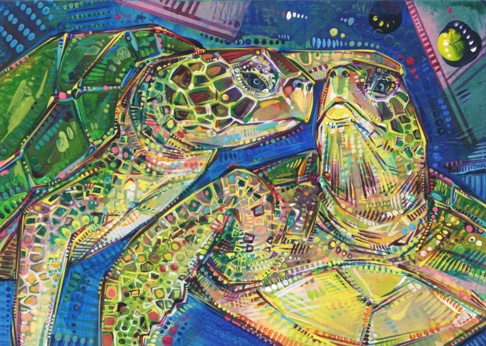 acrylic painting of two sea turtles