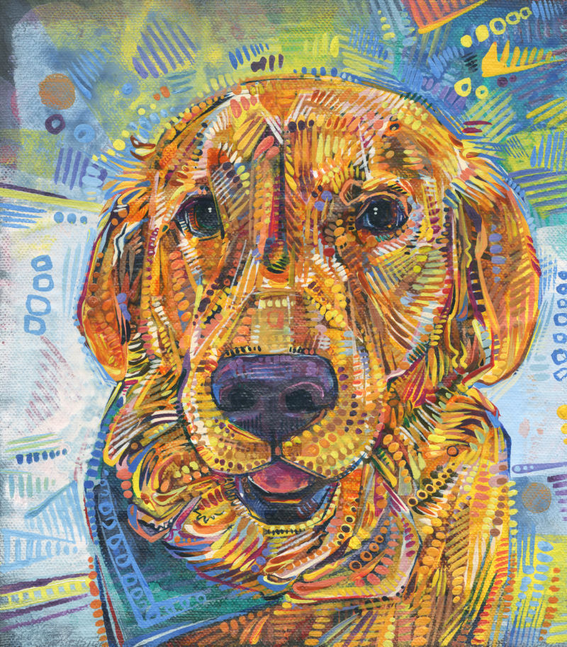 Golden Retriever dog painting