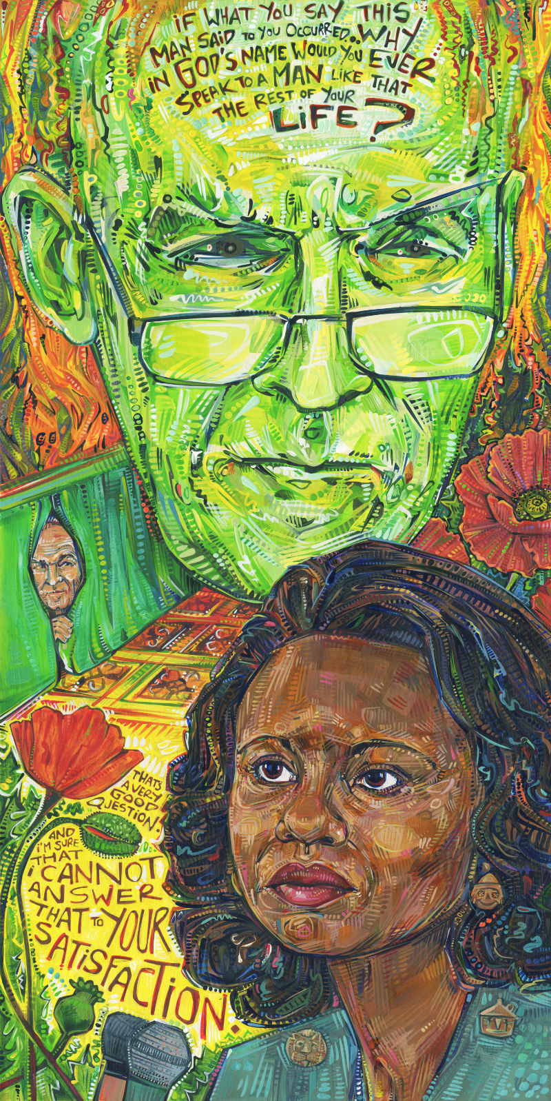 Anita Hill as Dorothy from the Wizard of Oz confronting Senator Alan Simpson painting from 2017