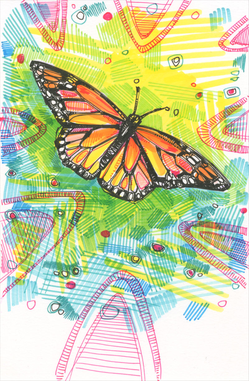 monarch butterfly seen from above with green and pink abstract marks around the insect