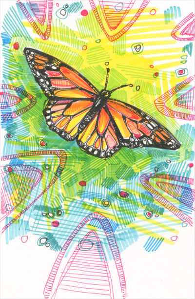 monarch butterfuly marker drawing