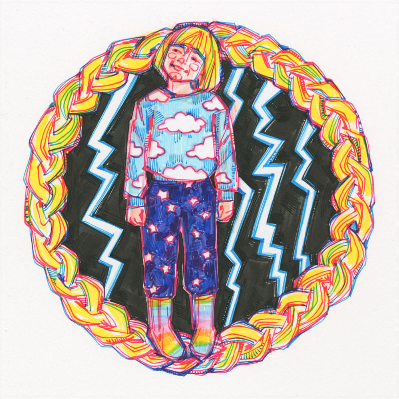 a small girl wearing parts of the sky and surrounded by lightning, all contained in a circular braid