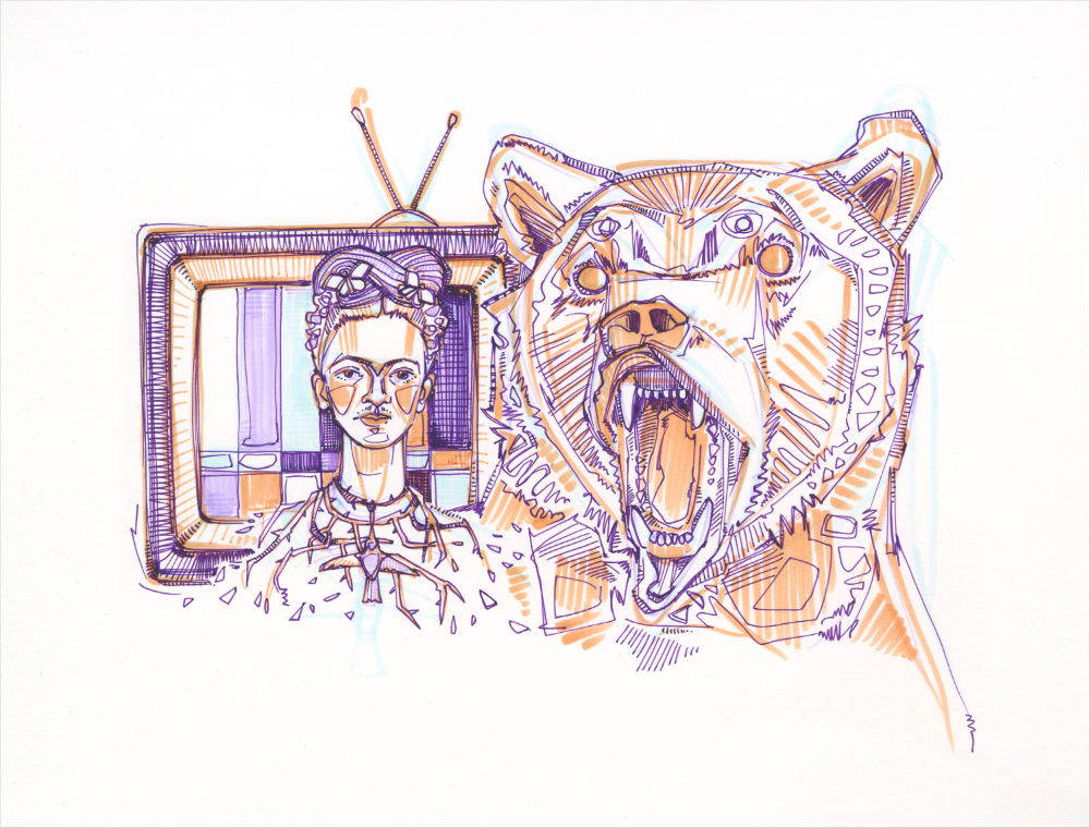 Frida Kahlo with thorns around her neck and a hummingbird in her hair, next to her there is a roaring bear and behind her there is an old television