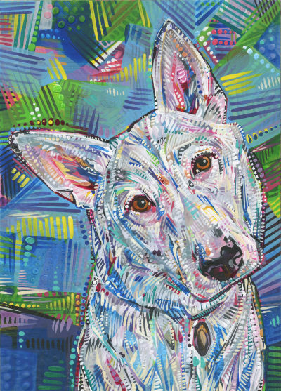 dog portrait painted in acrylic