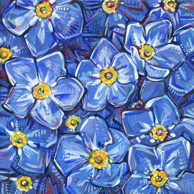 forget-me-not flowers painting