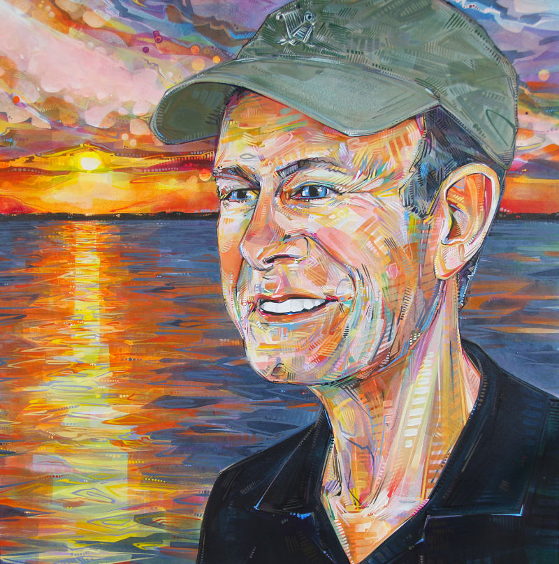 a colorful crosshatched portrait of a white man wearing a baseball cap with a sunset over water behind him
